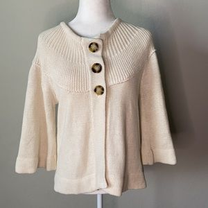 Cream Wide 3/4 Sleeve Sweater With Large Buttons Medium
